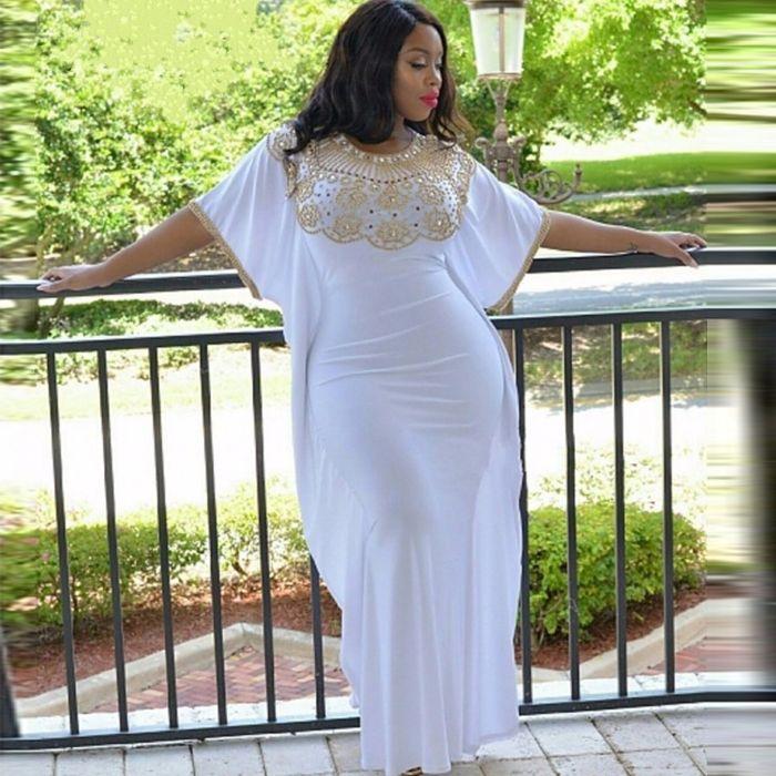 Plus Size White Golden Beads Saudi Arabia Evening Dresses Short ...