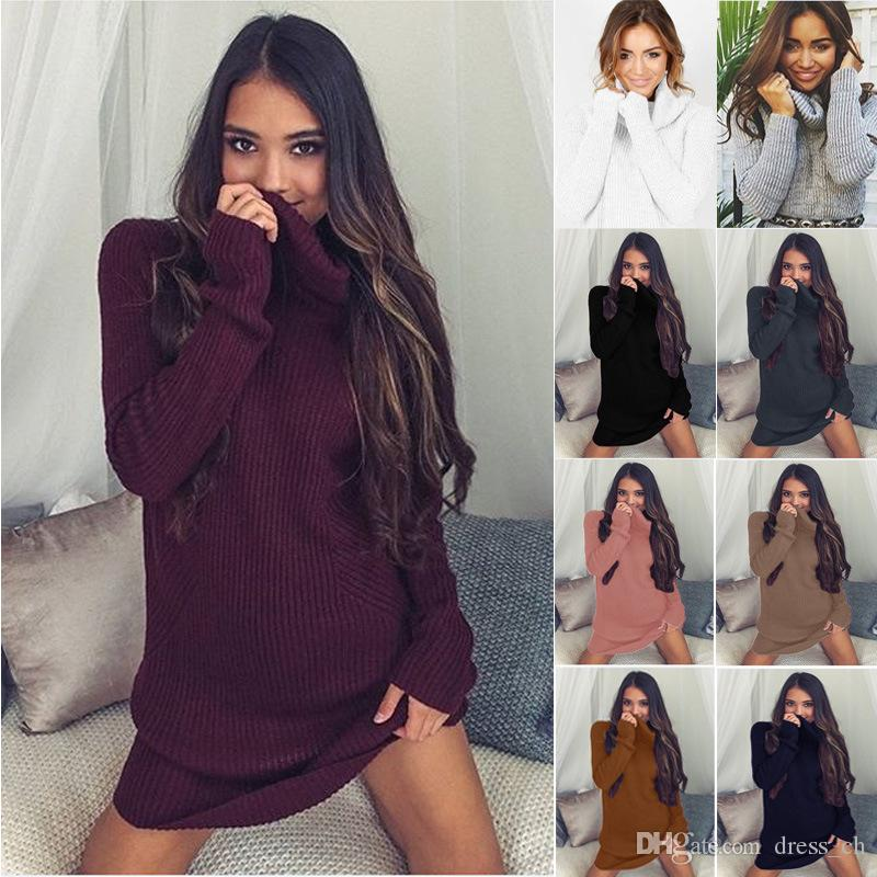 Casual Winter High Neck Ladies Long Sleeve Ribbed Sweatshirts ...