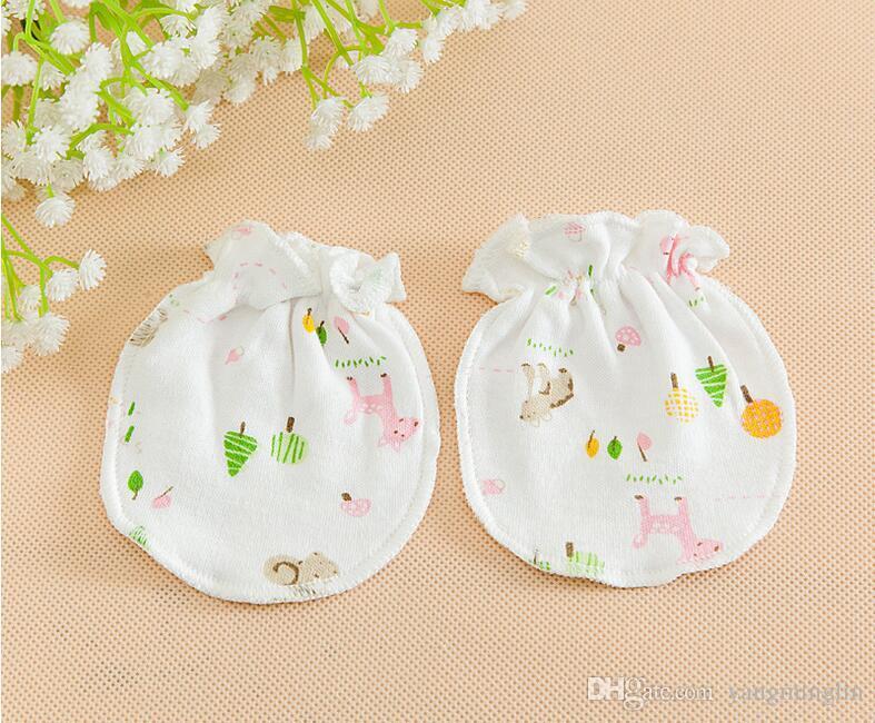 Cotton Cute Pattern Soft Cotton Baby Anti Scratch Mittens Gloves Baby Handguard
