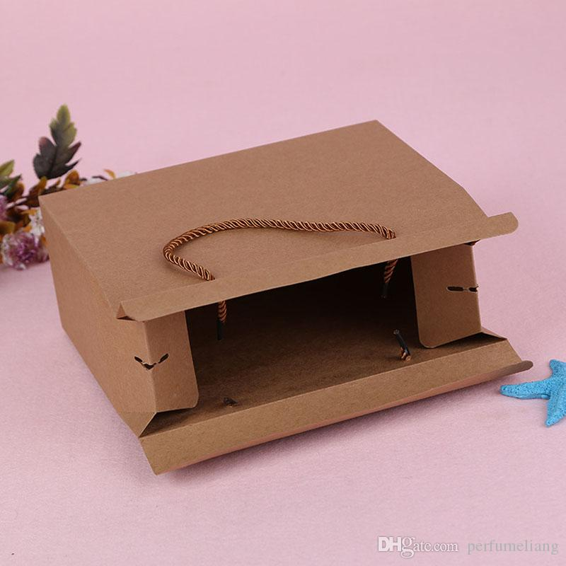 20*25*10cm Retro Kraft Paper Gift Handle Box Candy Chocolate Snack Biscuit Fruit Packaging Boxes ZA4479