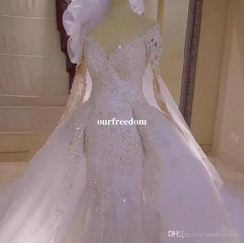 Gorgeous 2019 Mermaid Detachable Train Wedding Dress Long Sleeve Appliques Sheer Bead V Neck Bridal Gown For Church With Free Veils