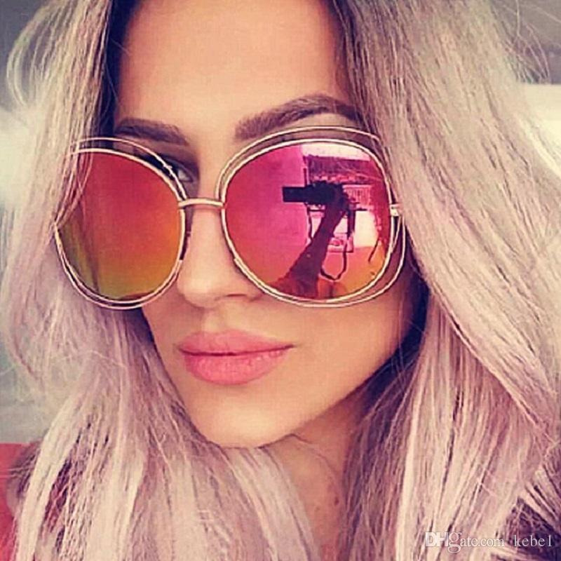 c107783167 Fashion Oversize Oval Wire Women Sunglasses Brand Designer Big Alloy Frame  Mirror Lens Sun Glasses UV400 Vintage Sunglasses Super Sunglasses From  Kebe1