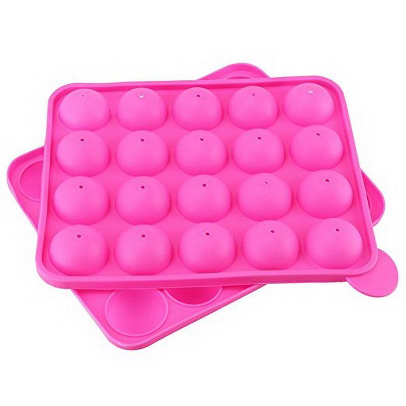 20 Holes Silicone Non-stick Cake Pop Kit Silicone Lollipop Mold Cake Mold Baking Chocolate Ice Lattice Bakeware Mould + 20 Sticks