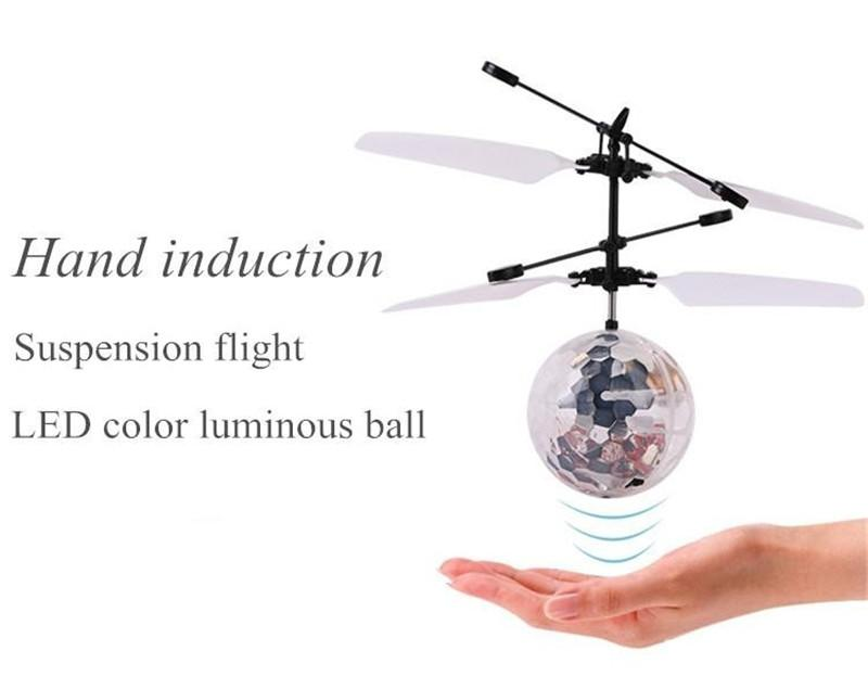 Mini LED Flashing Light Induction Fly Ball Toys Remote Control RC Helicopter Flying Quadcopter Drone Kids Toy