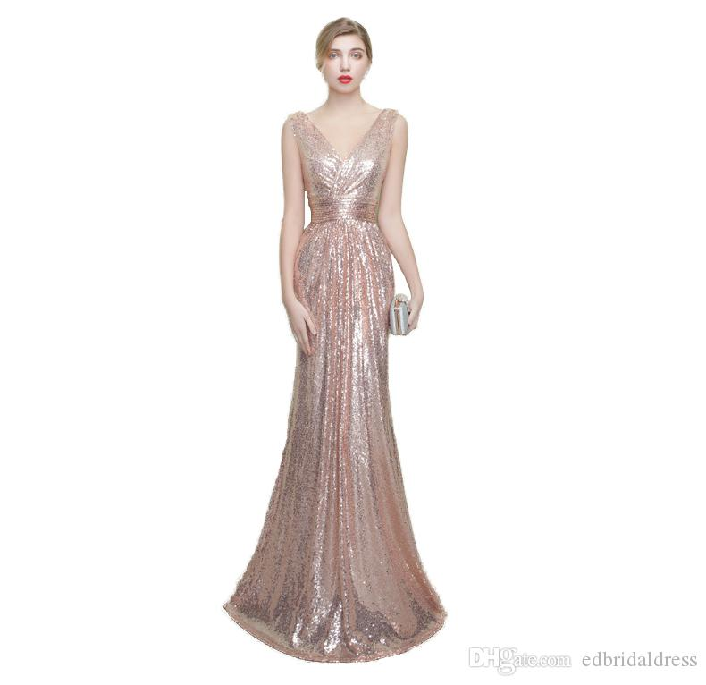 Sparkly Rose Gold Sequin Long Evening Gown V Neck Fitted Formal ...