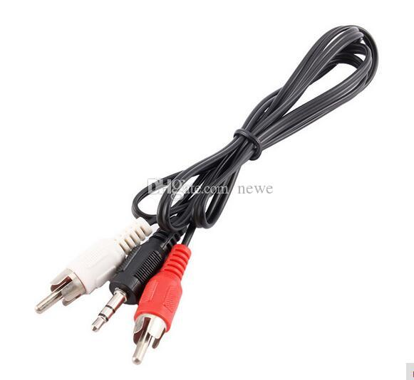 New 1M Jack Male TO 2 RCA Male Audio Adapter Cable for Mp3 Mp4 Player Mobile Phone Mini Plug Jack Stereo
