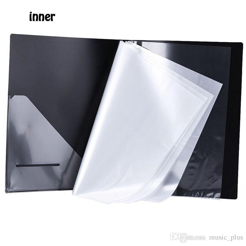 Music Sheet File Paper Documents Storage Folder Holder Plastic A4 Size 40 Pockets -Black