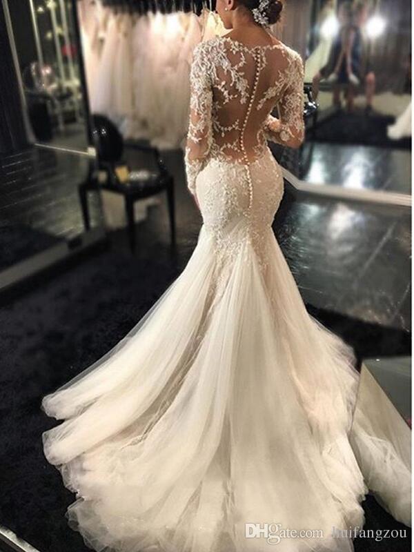 빈티지 인어 웨딩 드레스 긴 소매 레이스 아플리케 구슬 웨딩 드레스 스위프 기차 보석 신부 가운
