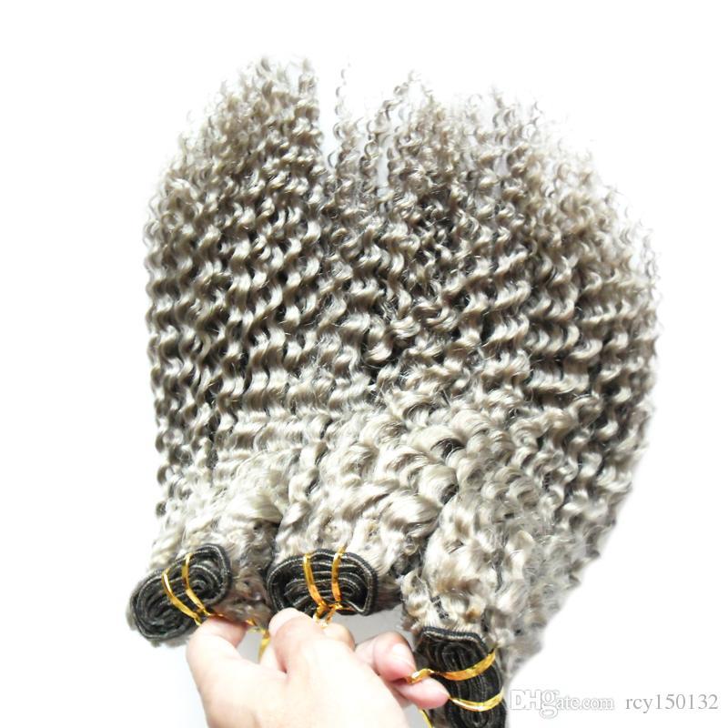 회색 머리카락 확장 직조 변태 곱슬 머리카락 번들 / 처녀 브라질 웨이브 머리를 짜다, 더블 그려, 아니 흘리기