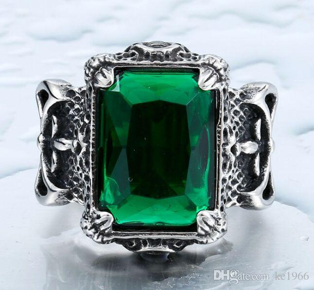 316 Stainless Steel Hot Green Stone Ring New Band Party Cool Red