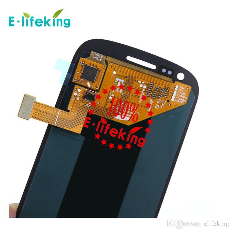 Samsung galaxy s3 mini i8190 için mükemmel lcd digitizer ekran meclisi ile gri veya beyaz çerçeve ücretsiz kargo