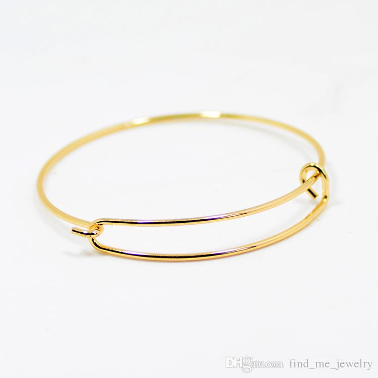 New fashion accessories wholesale wire bangle bracelets DIY jewelry cable wire bangle adjustable round charm love bracelet