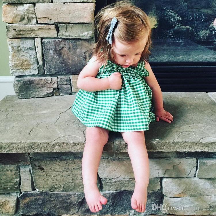 Niñas Niños INS Summer Plaid Chaleco Plisado Tanques Tops Camisas de Lentejuelas Princesa Niños Baby Volantes de Algodón Ropa sin mangas 1-6 años