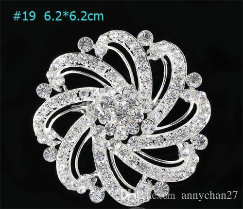 Silver Brooch Bouquet Corsage Round Flower 20 styles Wedding Hollow Large 7cm Luxury Sparkly Crystal Round Fashion Cameo Brooches Pin DHL