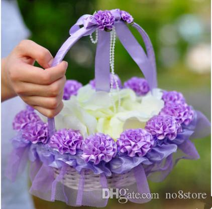 Purple Theme Rose Decoration Wedding Flower Girl Basket For Supplies