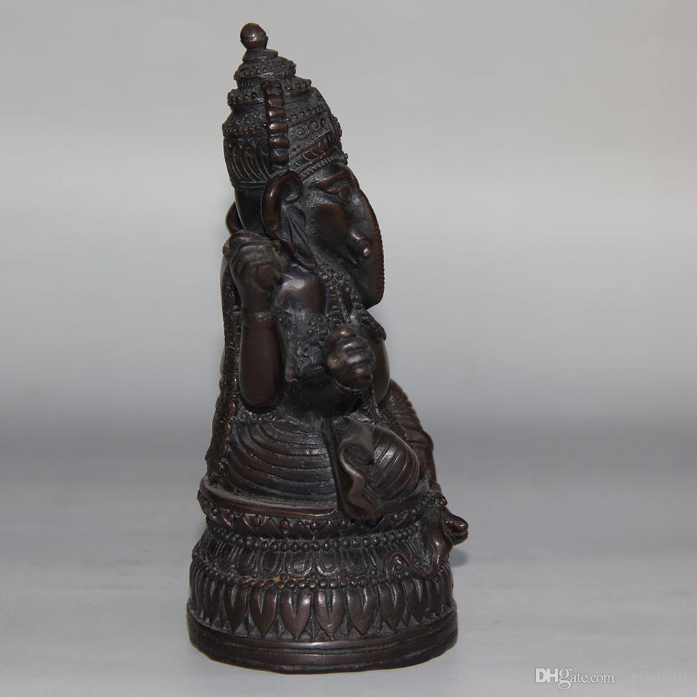 Chinese traditional handcrafts Ganesha Hindu Elephant God of Success Real Bronze Cast Statue
