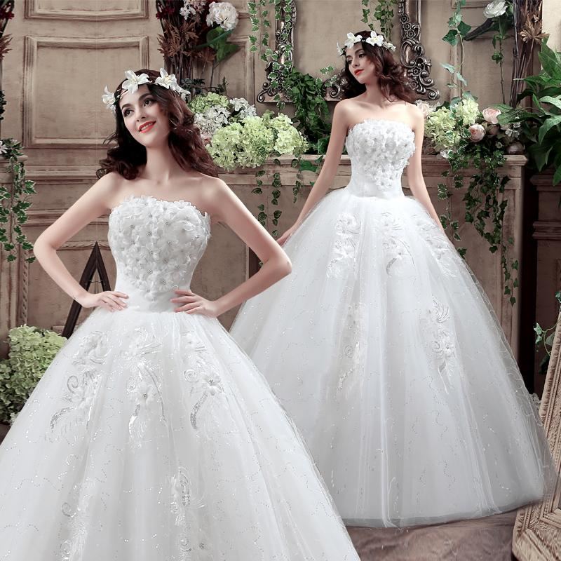 Discount 2017 new trendy sexy bride white flowers for Plus size wedding dresses size 32 and up