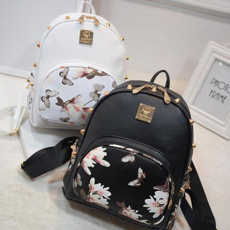 7ac4854aa2aa Women Backpacks 3D Floral Printing PU Leather Rivet Backpack Female Trendy  Designer School Bags Teenagers Girls Travel Mochilas Bags For Men Toddler  ...