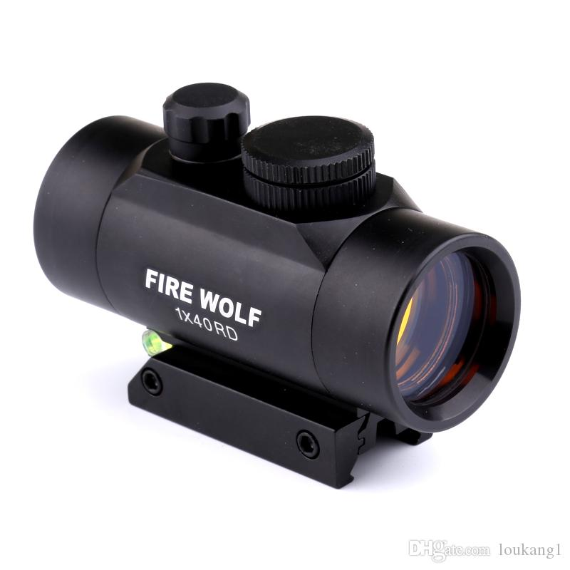 FIRE WOLF 1X40 Red Dot Sight Riflescope 11/20mm Rail Mount for Rifle with Bubble Level