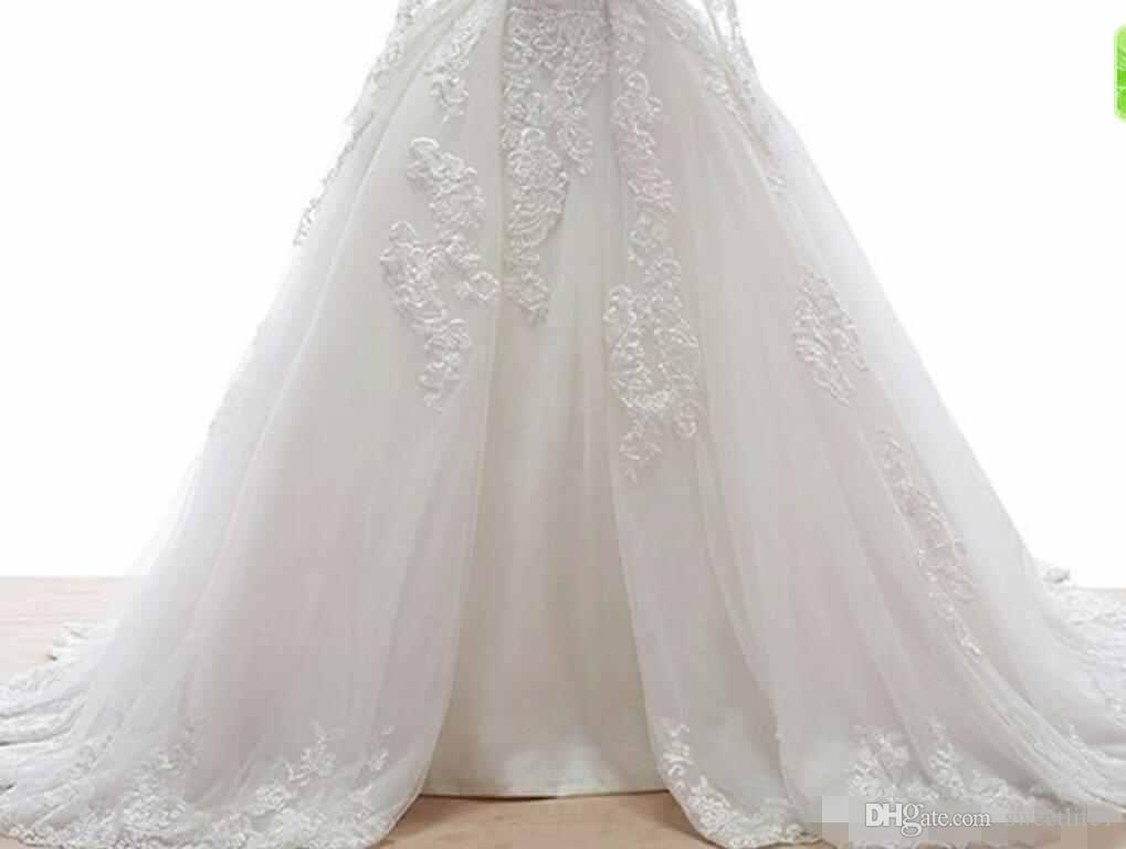 Custom Made White 2019 Ball Gown Sheer Long Sleeves Wedding Dresses Lace Appliqued Over Tulle Court Train Bridal Wedding Gowns