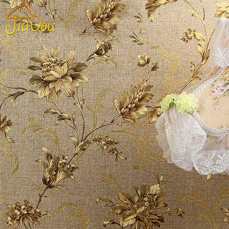 Luxury Floral Wall Paper Modern Embossed Gold Wallpaper For Walls Papel De Parede 3D Roll Tapete Vinyl Decor High Quality Wallpap