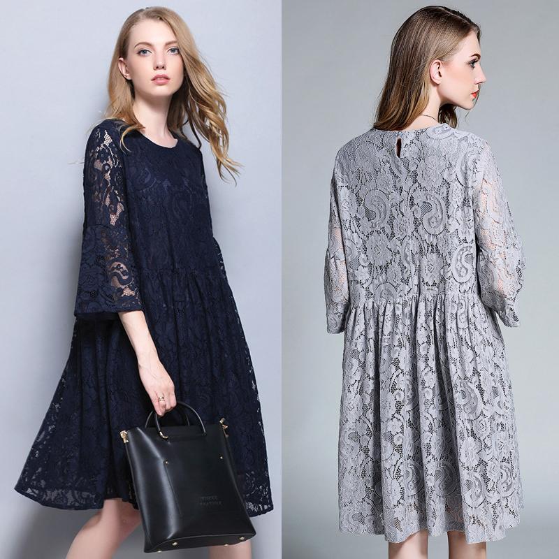 cfdc60e8379b Acquista Vestiti Di Maternità Donne Incinte Donne Merletto Hollow Estate  Abbigliamento Stile Europeo Più Abbigliamento Formato Blu Grigio Vendita  Calda A ...