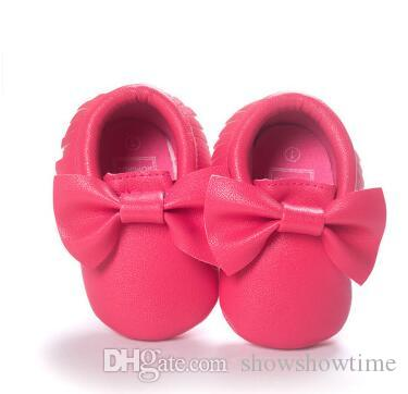 Newborn Baby First Walkers Moccasins Soft Moccs Kids Shoes Baby bow Prewalker booties Tassels Leather Shoes for toddler