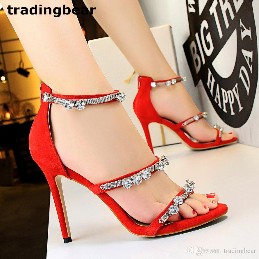 04797bcce1e Luxury Crystal Wedding Shoes Red Metal Chain Ankle Strap Thin High Heel  Pumps 6 Colors Size 34 to 39