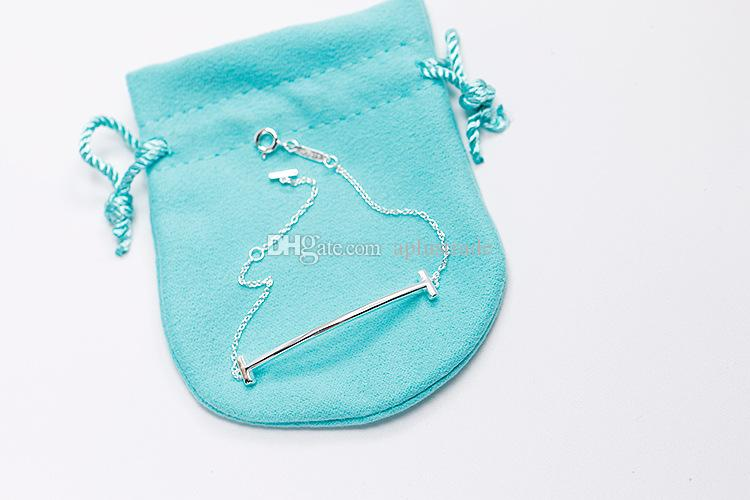 I classici braccialetti classici di marca di T del braccialetto di sorriso dell'argento sterlina S925 con il pacchetto blu liberano il trasporto