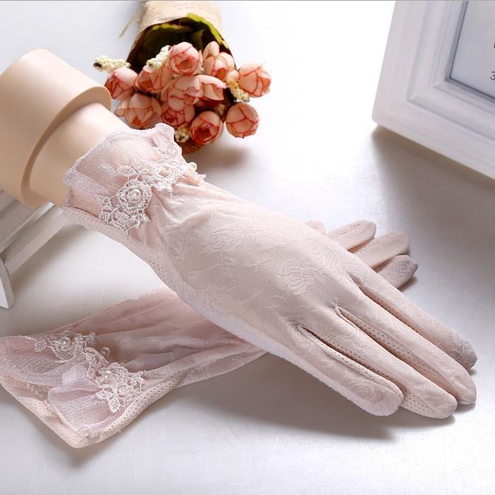 Printemps et en été des femmes des gants de protection solaire de la dame anti-uv antidérapante conduite gants filles sexy dentelle gants tactile gant écran