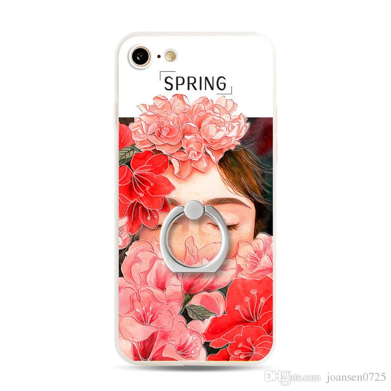 2 in 1 TPU PC painting cell phone Cases for iphone 6S 7 plus ultra thin phone holder back silicone cover shell case 2017 wholesale hot sale