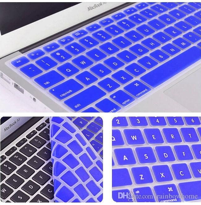Laptop Yumuşak Silikon Renkli Klavye Kılıf Koruyucu Kapak Cilt Için MacBook Pro Hava Retina 11 12 13 15 Su Geçirmez Toz Geçirmez Perakende kutusu OEM