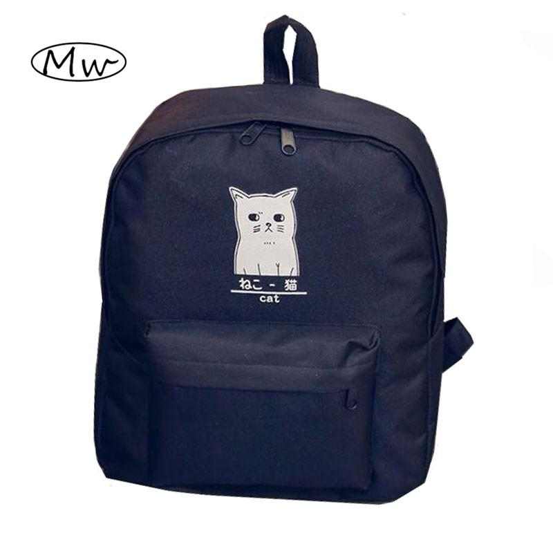 wholesale cute cartoon japanese cat printing backpack women canvas backpack school bags for teenager girls college style casual backpack rucksack backpack