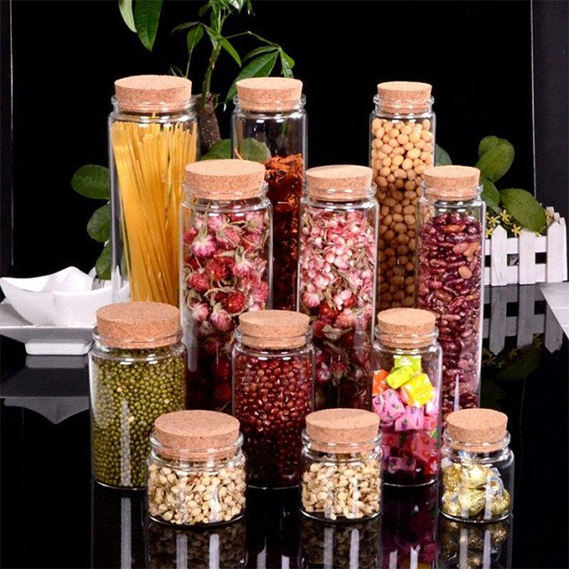 Large Glass Storage Bottles with Corks Candy Saffron Food Jars Transparent Clear Empty Health and Eco-Friendly Bottles 4pcs/lot