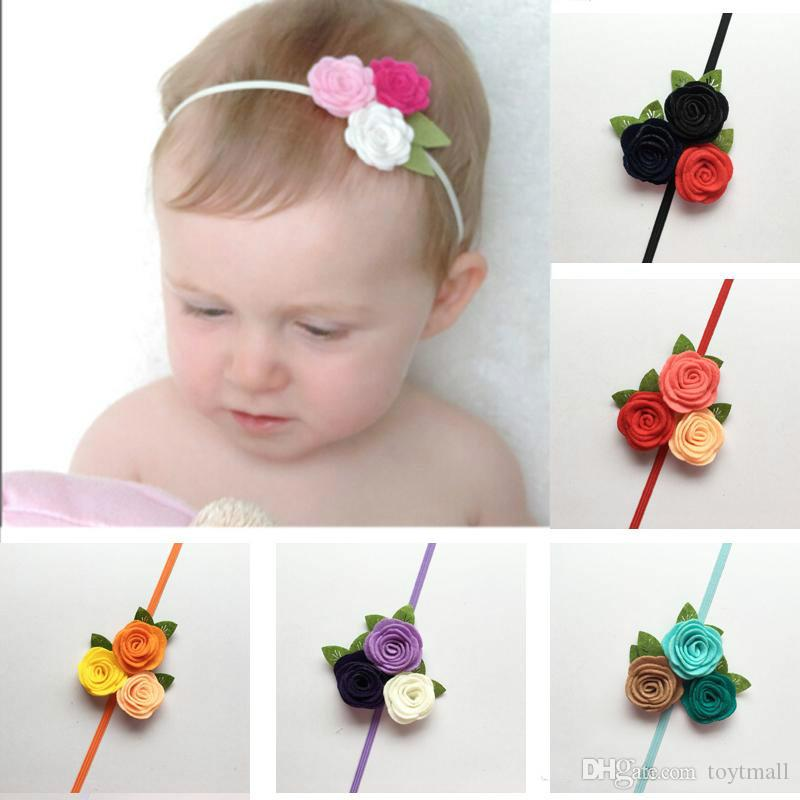 Christmas Headband For Baby Girl.Triple Felt Rose Flower Headband For Kids Baby Girl Christmas Headband Toddler Headwear Princess Photo Props Hair Accessories Hair Bow