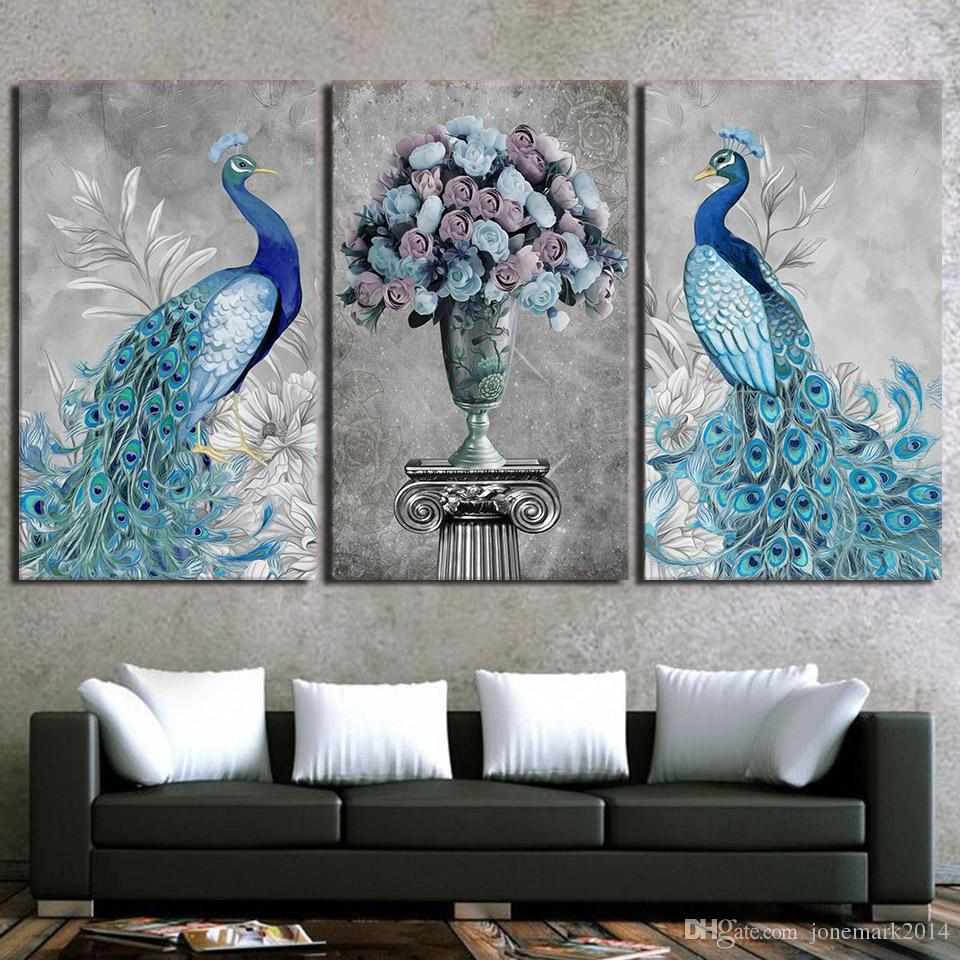 Framed HD Printed Peacock Couple Animal Picture Wall Art Print Decor Canvas Modern Oil Painting Cuadros Decoracion
