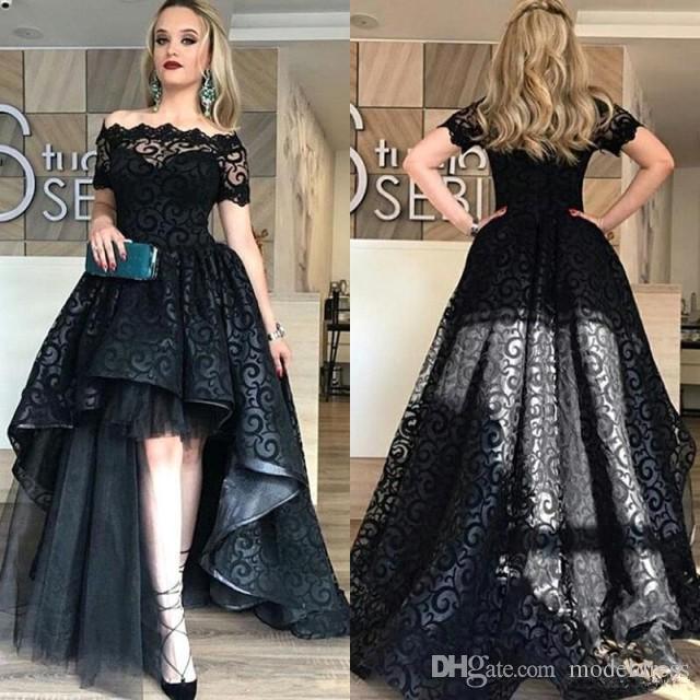 Modest Black High Low Lace Prom Dresses 2020 Bateau Short Sleeve A Line Short Front Long Back Evening Party Pageant Gowns Cheap Vestidos