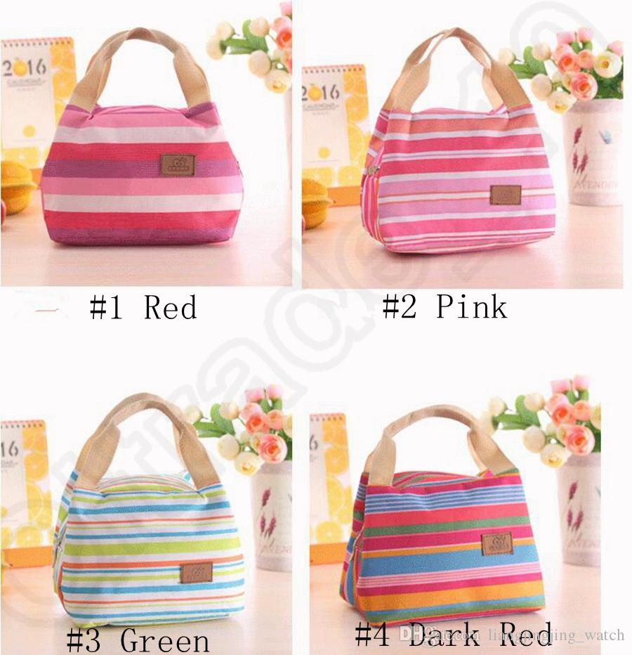 Canvas Stripe Picnic Lunch Drink Thermal Insulated Cooler Tote Bag 450ML Portable Carry Case Lunch Box OOA1161