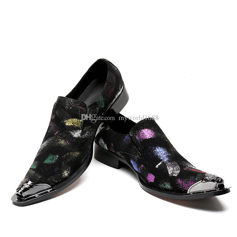 Gold Metal Toe Mens Dress Shoes Graffiti Block Heels Male Creepers Suede Zapatillas Hombre Style
