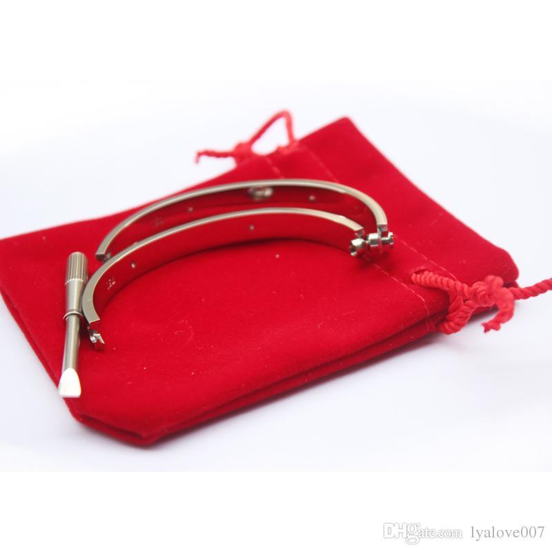 Braccialetti d'amore in acciaio al titanio donna oro rosa / argento / oro Girocollo cacciavite Bracciale con ciondolo a forma di coppia Coppia gioielli con borsa originale