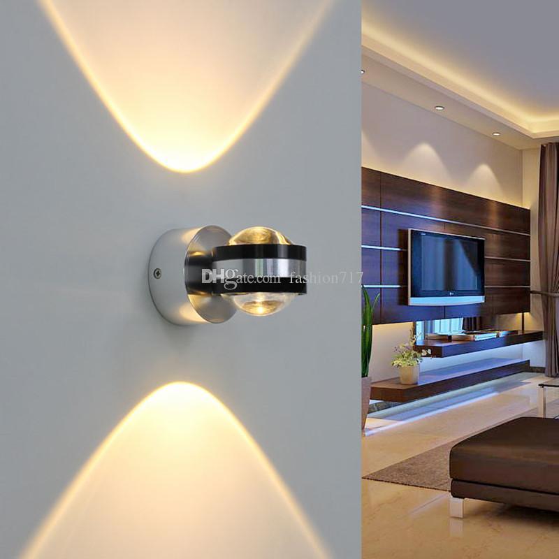 현대 미니멀리스트 AC85V-265V 2W LED 알루미늄 벽 램프 거실 침실 침대 옆 통로 Crystal F-WL18424