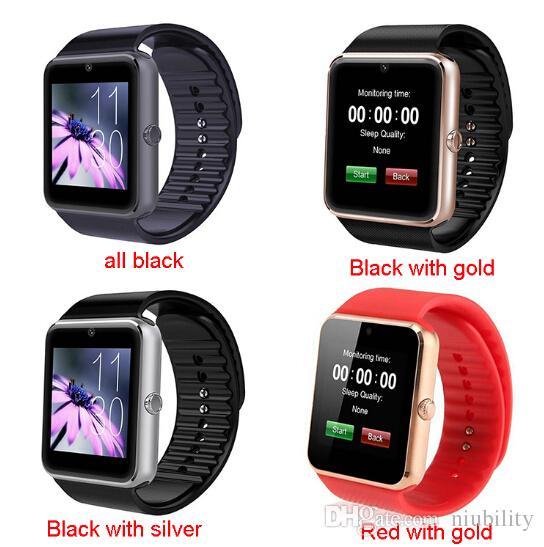 El mejor reloj inteligente Bluetooth GT08 con ranura para tarjeta SIM y vigilancia de salud NFC para Android Samsung IOS Smartphone pulsera con smartphone de Apple SmartWatch