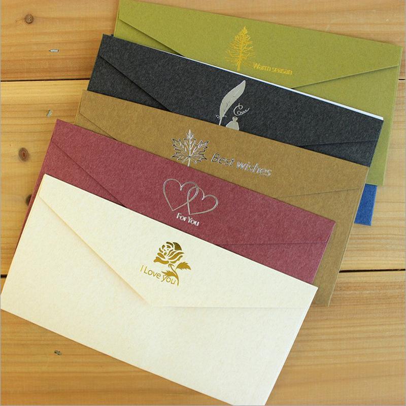 Wholesale- 20pcs/lot 22*11cm Vintage Bronzing Best Wishes Kraft Paper  Envelope Business Invitation Envelope Wedding Envelopes sobres