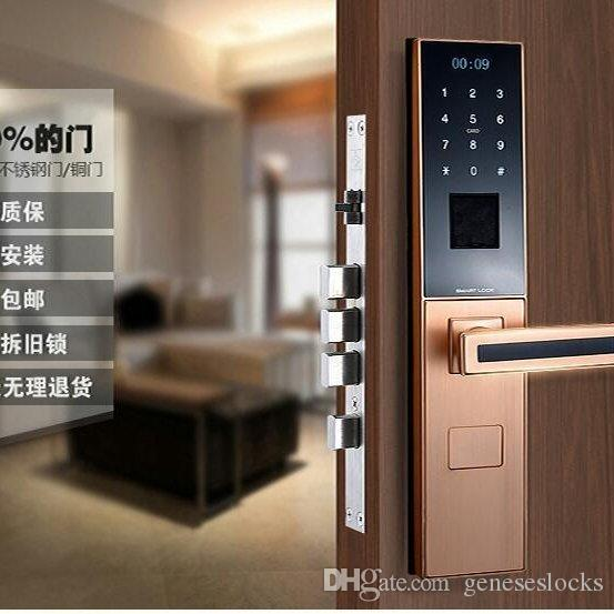top intelligent fingerprint door lock biometric with good quality card key password finger scan open with remote control from