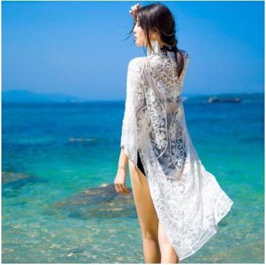 ec91e38931 2019 Summer Beach Bikini Cover Ups Long Cardigan Women Crochet Hollow Lace  Embroidery Loose Dress Sexy Perspective Sunscreen Swimwear Beachwear From  ...