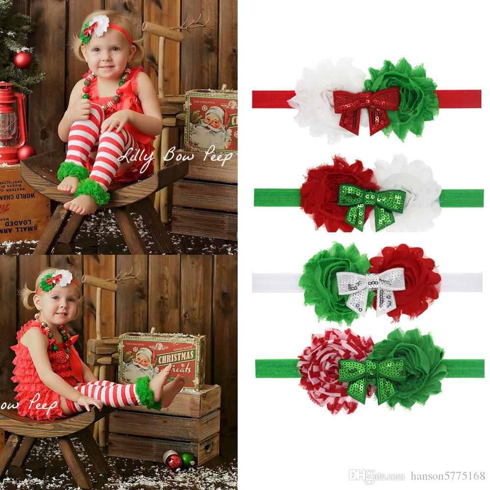 baby christmas hair accessories boutique hair band with fabric bow