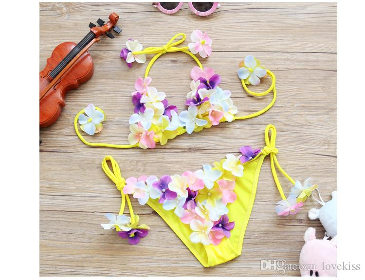 2017 nuovi Costumi da bagno bambini abbastanza carino fiore Ragazze Bikini Bambini Costumi da bagno bambino due pezzi di nuoto bambino Imposta Beachwear A585