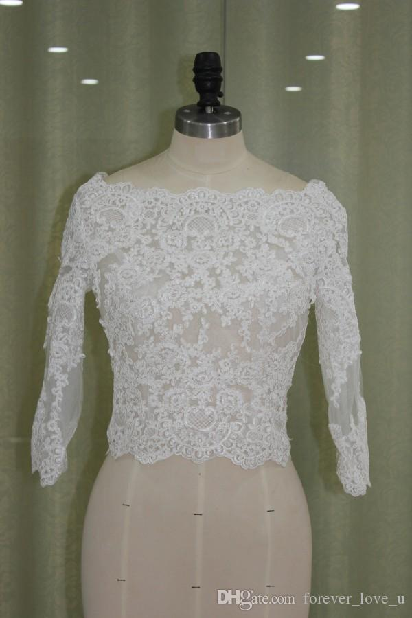 Real Pictures Sheer Bateau Neck Lace Appliques Bridal Jackets with Sleeves Vintage Wedding Boleros Custom Made