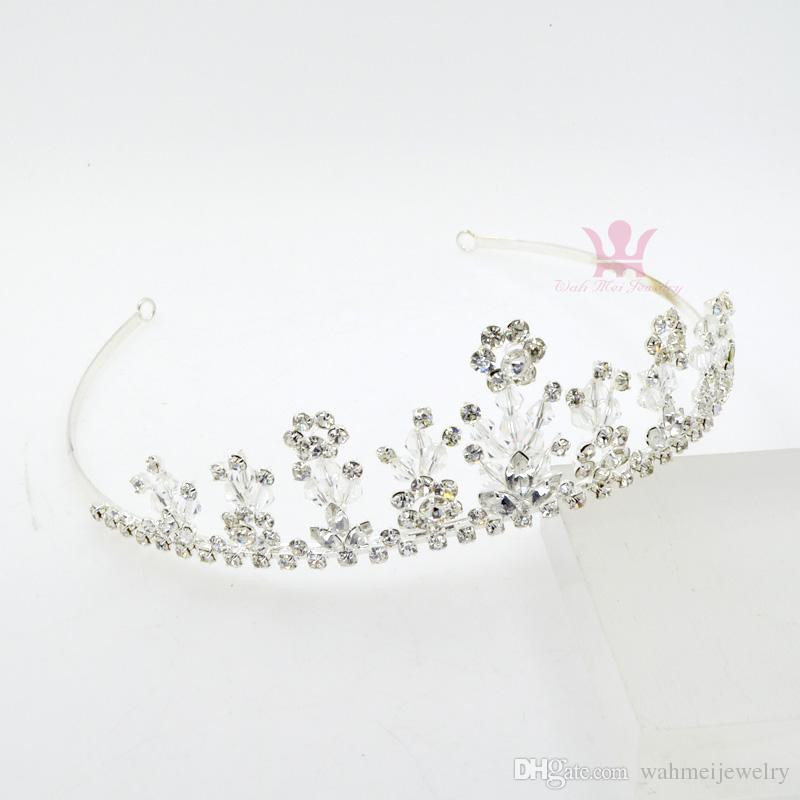 Bridal Wedding Events Tiaras Crown Handmade Rhinestone Crystal Headpieces Princess Hair Accessories Headband Clips Flower Pretty Girls Km171