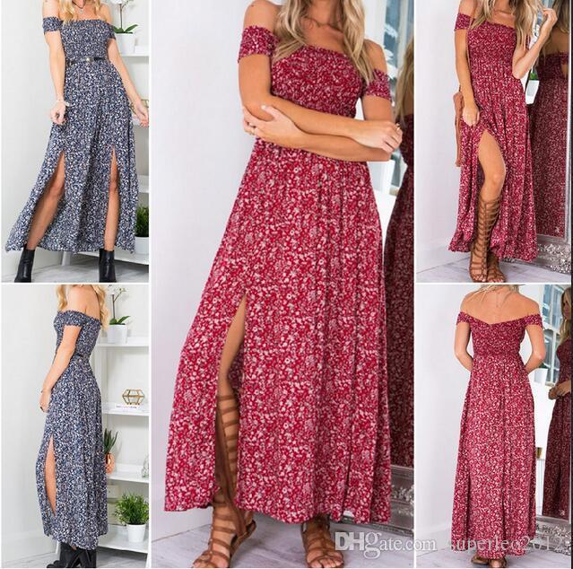 Femmes été imprimé floral Tunika Maxi robe Slash cou bretelles plage Split longue robe YSM